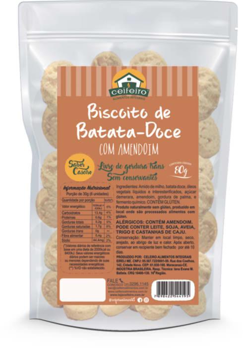 BISCOITO DE BATATA DOCE COM AMENDOIM 80g - saco pouch