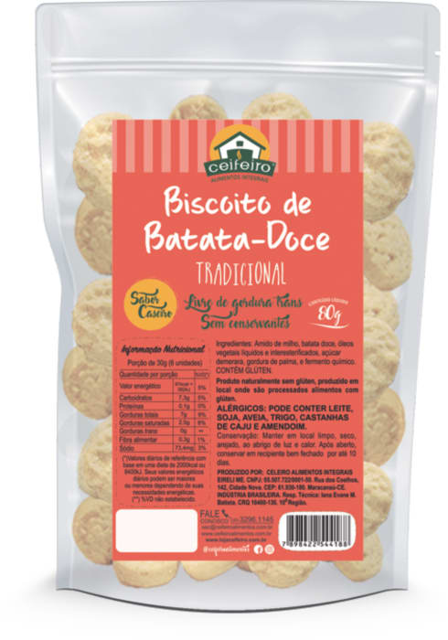 BISCOITO DE BATATA DOCE 80g - saco pouch